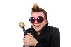 The singing man in karaoke concept Stock Photos