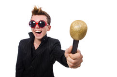The singing man in karaoke concept Stock Images