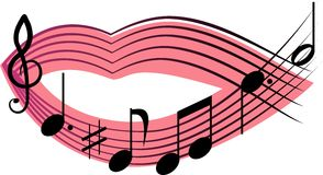 Singing mouth. Pink mouth singing melody songs Stock Image