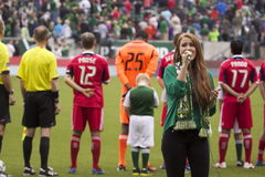 Singing the national anthem Royalty Free Stock Images