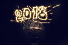 Singing on 2018 New Years Eve Royalty Free Stock Photography