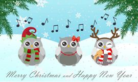 Singing owl. Merry Christmas and Happy New Year. Vector illustration. Singing owl. Merry Christmas and Happy New Year Stock Image