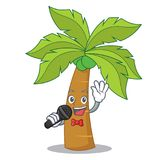 Singing palm tree character cartoon Royalty Free Stock Image