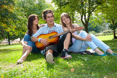 Singing in the park Royalty Free Stock Photo