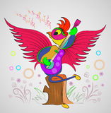 Singing parrot cartoon for books Stock Photography