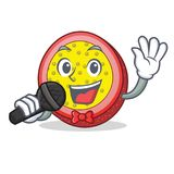 Singing passion fruit mascot cartoon. Vector illustration Royalty Free Stock Images