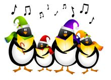 Singing Penguin Christmas Carolers. A clip art illustration of a cartoonish group of singing penguin Christmas Carolers dressed for the holidays and surrounded Royalty Free Stock Photography