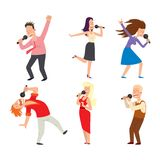 Singing people vector character Royalty Free Stock Photography