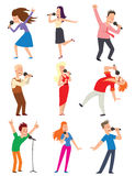 Singing people vector set. Royalty Free Stock Photos