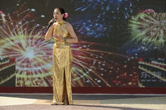 Singing performance outside China Pavilion 03, EXPO 2015 Milan Stock Photo