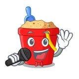 Singing picture beach bucket on shovel cartoon vector illustration