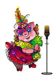 Singing pig masquerade. Singing pig on masquerade stand before mike Royalty Free Stock Images