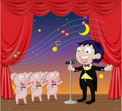 Singing Pigs. Three little pigs singing with man Royalty Free Stock Images
