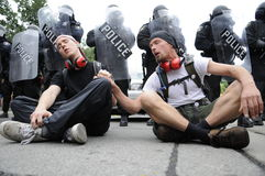 Singing protesters. Stock Photography