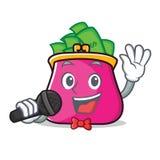 Singing purse character cartoon style. Vector illustration Stock Image