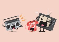 Singing radio character annoying telephone and television Stock Photography
