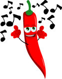 Singing red hot chili pepper Stock Photos