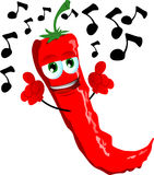 Singing red hot chili pepper Royalty Free Stock Photography