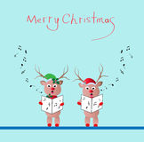 Singing Reindeer. Two reindeer singing christmas song -vector illustration Stock Photography