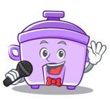 Singing rice cooker character cartoon Stock Photos