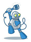 Singing Robot. Illustration of a retro robot holding a retro microphone Royalty Free Stock Images