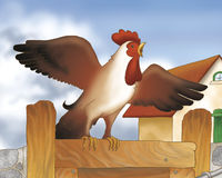 Singing rooster 2- fairy tale. Digital illustration of a singing rooster from the grimms fairy tale: Bremen town musicians Stock Photo