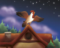 Singing rooster - fairy tale. A rooster is singing by night. Digital illustration of the grimms fairy tale: bremen town musicians Royalty Free Stock Image