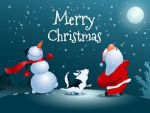 Singing Santa Claus, dog and snowman. Christmas snow scene. Royalty Free Stock Images