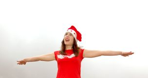 Singing Santa girl Stock Image