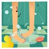Singing in the shower stock illustration
