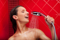 Singing in shower. Stock Photography