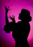Singing silhouette. Of a young Spanish flamenco dancer stock photography