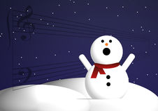 Singing snowman. An illustrated background with a singing snowman stock illustration