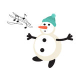 Singing snowman cartoon vector icon Stock Photography