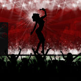 Singing star music party performance. Singing star silhouette on stage with cheering party crowd stock illustration