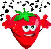 Singing strawberry Stock Images