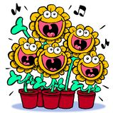 Singing sunflowers. Royalty Free Stock Images