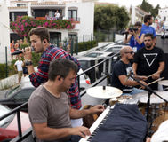 David Carreira Singing on Top of Open Bus, Albufeira Streets, Summer Season Royalty Free Stock Photography