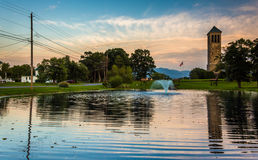The singing tower and a pond in Carillon Park, Luray, Virginia. Royalty Free Stock Photo