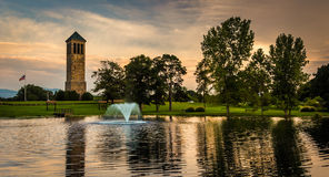 The singing tower and a pond in Carillon Park, Luray, Virginia. Stock Photos