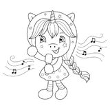Singing unicorn girl with microphone. Coloring page for girls. Vector. Singing unicorn girl with microphone. Coloring page for girls. Vector illustration Stock Photos