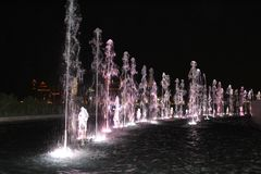 Singing water in Qatar royalty free stock photography