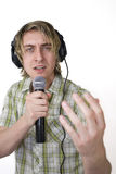 Singing Whilst Monitoring Royalty Free Stock Photography