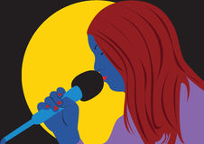 Singing woman. Close-up Vector illustration of a young woman singing, pop-art image Stock Image