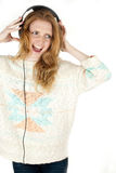 Singing woman with headphones Royalty Free Stock Photos