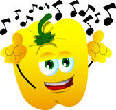 Singing yellow bell pepper Royalty Free Stock Photos
