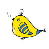 Singing yellow birds Royalty Free Stock Images