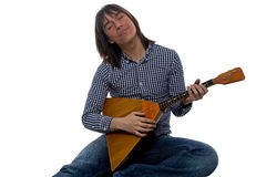 Singing young man with balalaika Stock Photography
