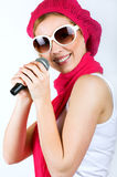 Singing young woman Stock Photography