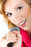 Singing young woman Royalty Free Stock Photo